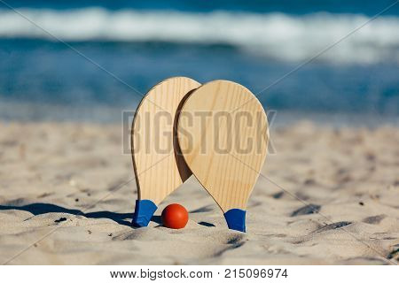 Beach Tennis, Beach Paddle Ball, Matkot. Beach Rackets And Ball On The Beach