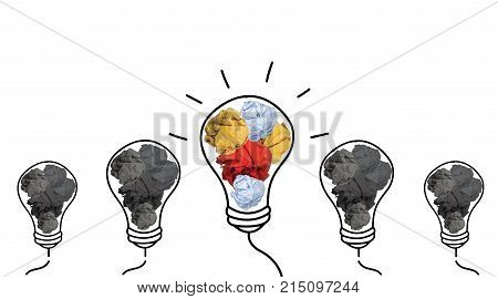 crowd lightbulb and colorful paper crumpled isolated on white background idea business innovate achievement growth success concept object design Business/Finance