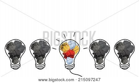Stand out of crowd lightbulb and colorful paper crumpled isolated on white background idea business innovate achievement growth success concept object design Business/Finance