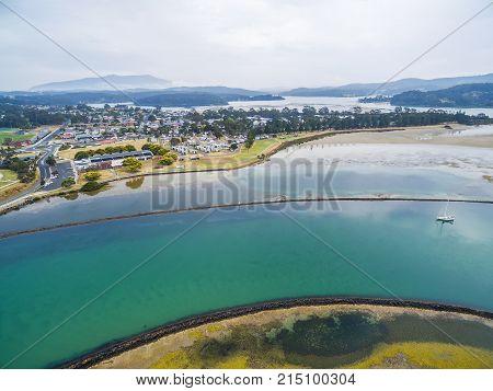 Aerial view of Narooma town NSW Australia