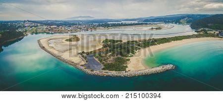 Aerial panorama of beautiful Narooma inletNSW Australia