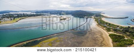 Aerial panorama of Narooma waterfront. NSW Australia