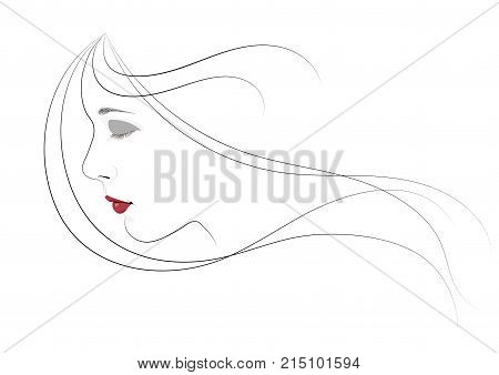 A girl with closed eyes and hair flying in the wind - vector