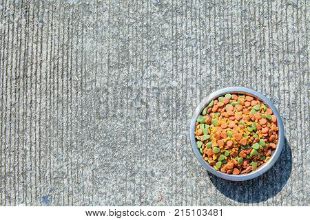 Dry dog food in in the stainless steel bowl