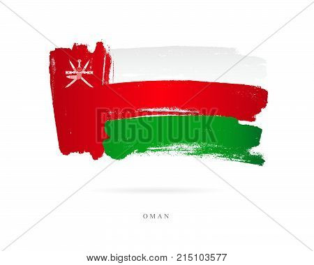 The flag of Oman. Vector illustration on white background. Beautiful brush strokes. Abstract concept. Elements for design.