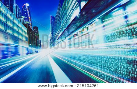 City street with binary code numbers on motion blurred asphalt road speed and faster digital matrix technology information concept .