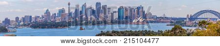 Sydney Australia - October 3 2017: Large panorama of Sydney skyline with skyscrapers Opera House and Sydney Harbour Bridge