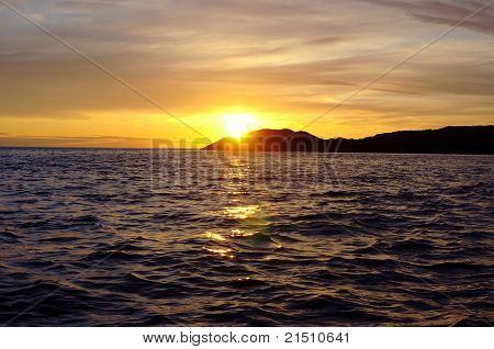 Colorful sunset over White Sea in the  of Karelia