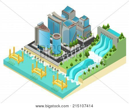 Isometric eco city template with modern buildings electric cars windmills hydroelectric tidal wave power stations and plants vector illustration
