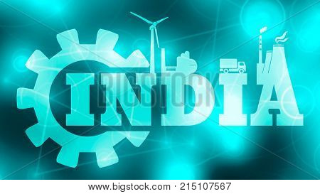 Energy and Power icons. Sustainable energy generation and heavy industry. India word build in gear