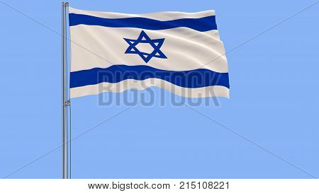 Isolate flag of Israel on a flagpole fluttering in the wind on a blue background 3d rendering