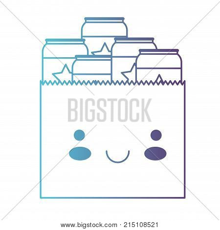 kawaii paper bag with canned beers in degraded blue to purple color contour vector illustration
