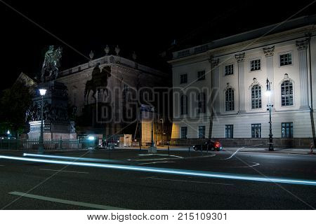BERLIN - OCTOBER 08 2017: Equestrian statue of Frederick the Great on Unter den Linden in the evening illumination.