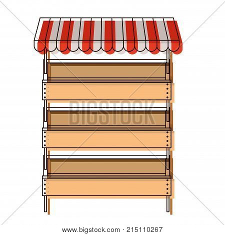 supermarket shelves with big storage with three levels and sunshade in watercolor silhouette vector illustration