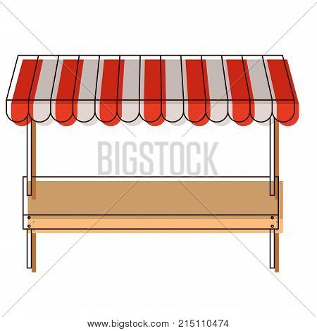 supermarket shelf of one level and sunshade in watercolor silhouette vector illustration