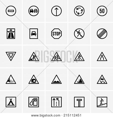 Set of road signs or traffic signs icons