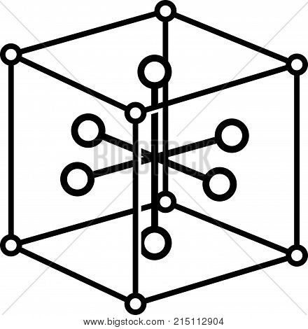Solid state physics symbol, cube and molecules