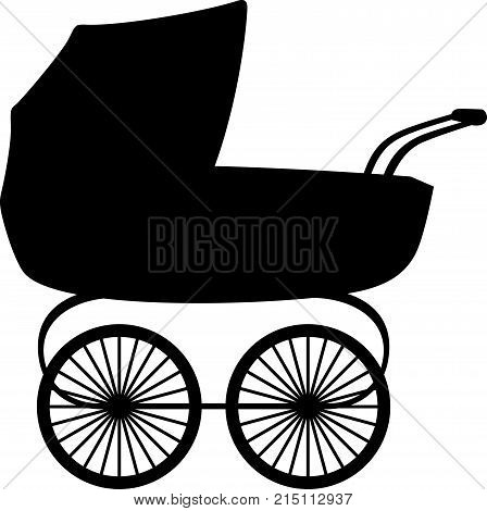 Bassinette or baby carriage, in profile, shade picture
