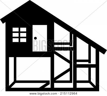 Chicken coop or chicken house, shade picture