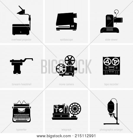 Set of old domestic electric appliances, shade pictures