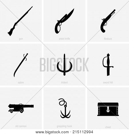 Weapons and things of pirates, shade pictures
