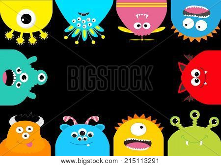 Monster frame. Cute cartoon scary character set. Different emotion. Baby collection. Black background Isolated. Happy Halloween card. Flat design. Vector illustration.
