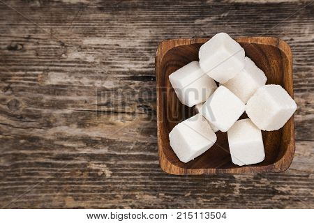 Bowl With Cubes Of White Sugar