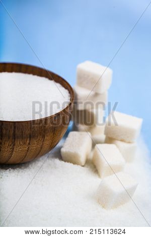 Sugar In A Bowl And Cubes Of Sugar
