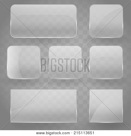 Collection of transparent reflecting square glass banners with rounded corners and gloss reflection effect. Vector illustration icons set. Glass glare square banner EPS 10