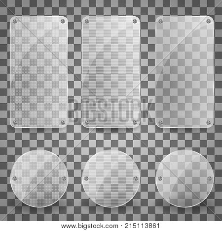 Set of Realistic Vector Glass Plate. shiny reflecting square banner icon. Vector glare banners Illustration with reflection effect. EPS 10