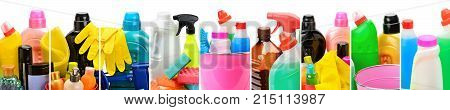 Panoramic collection of household chemicals for cleaning isolated on white background. Collage.Wide photo.