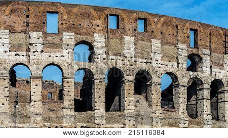 The Colosseum in Rome, Italy, the largest amphitheater ever built. Built of concrete and sand in the years 72-80 under the Flavian dynasty emperors, Vespasian and his successor and heir Titus.