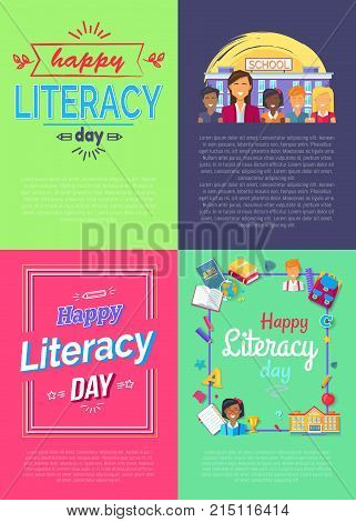 Set of four vivid placards dedicated to literacy day with frames and ribbons, text sample and icons of fruits, books and pens vector illustration