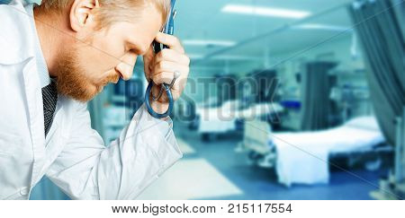 Man Doctor Thinking And Tired. Doctor Is Considering Diagnosis. People Care Concept