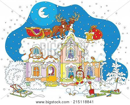 The night before Christmas, Santa Claus with gifts in a house, his sledge with magic reindeers on a snow-covered housetop