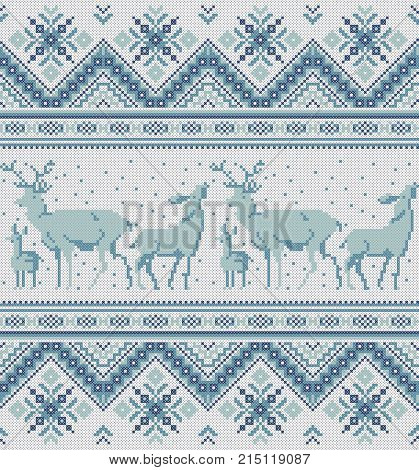 Traditional baltic scandinavian slavic folk embroidery Cross stitch pixel ornament Seamless pattern for neckline design knit textile Tribal native style Vector abstract geometric background