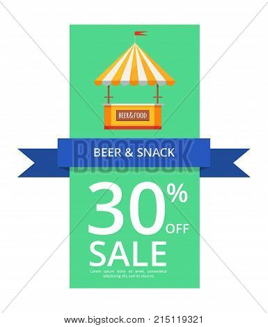 Beer and snack 30 off sale on blue ribbon with image of selling tent on green vector illustration isolated on general white background.