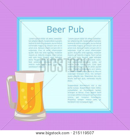 Beer pub poster with purple background and text on light blue square. Isolated vector illustration of full mug containing alcoholic drink with bubbles