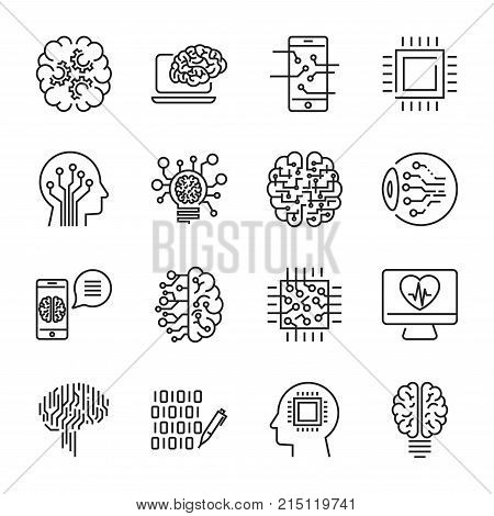 Simple set of artificial intelligence related line icons contains such icons as droid, eye, chip, brain. Editable Stroke. EPS 10