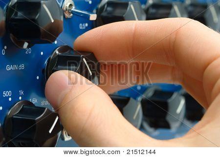 Audio Engineer's Hand At Work