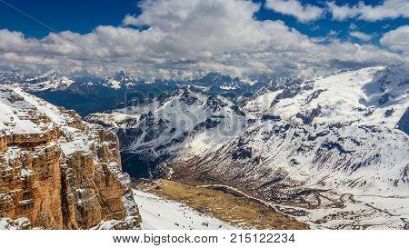 Summit Of Sass Pordoi In Spring, Dolomites, Italy