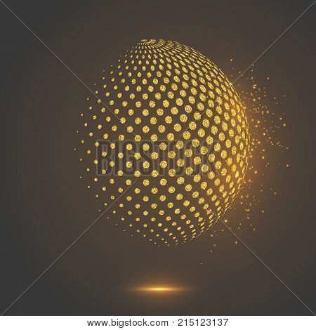 Abstract globe dotted sphere, 3d halftone dot effect. Glitter gold color with glowing lights, black background. Vector illustration.