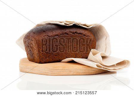 fresh rye bread isolated on white background
