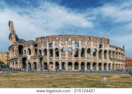 ROME - AUGUST 10, 2017: The Colosseum, the largest amphitheatre ever built. Built of concrete and sand in the years 72-80 under the Flavian dynasty emperors Vespasian and his successor and heir Titus.