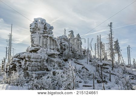 Dreisessel Tristolicnik. Winter landscape with rock in Sumava Czech republic