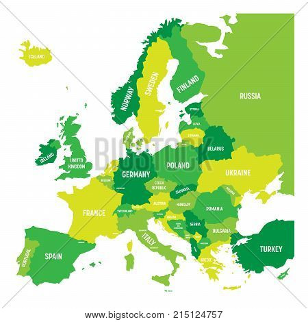 Political map of Europe continent in four shades of green with white country name labels and isolated on white background. Vector illustration.