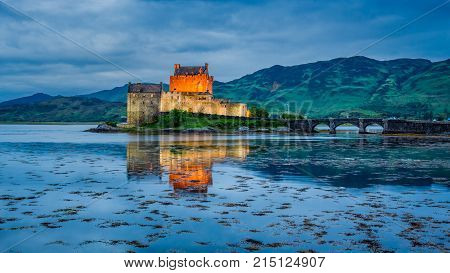 Stunning Dusk Over Lake At Eilean Donan Castle, Scotland