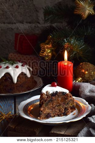 Traditional English Christmas Steamed Pudding With Winter Berries, Dried Fruits, Nut In Festive Sett