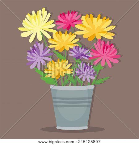 Vintage floral vector bouquet garden flower. Botanical natural peonies illustration. Summer floral greeting card botany colorful bloom decoration.