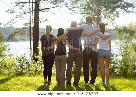 Rear View Of Coworkers Standing Arms Around In Forest